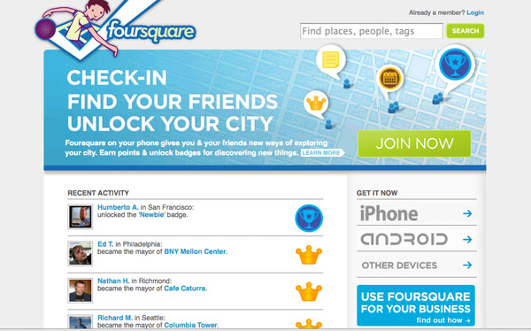 This image displays the sign in page for Foursquare and portrays relevance to branding, strategy and social media.