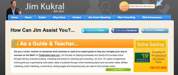 This image displays the landing page for Jim Kukral's blog and portrays relevance to branding, strategy and social media.