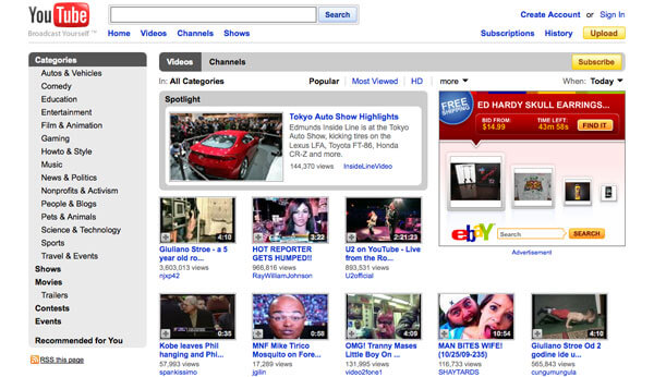 This image displays the homepage for Youtube and portrays relevance to branding, strategy and social media.