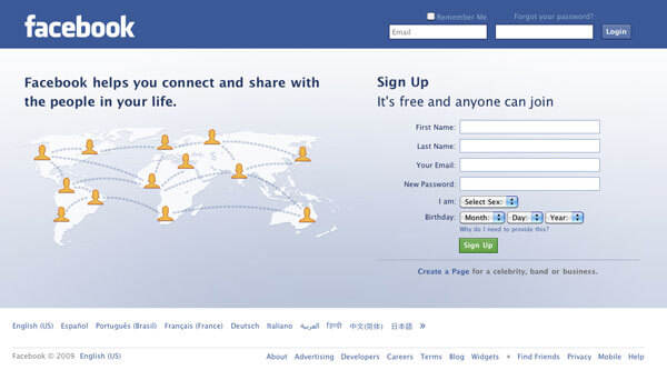 This image displays the sign in page for Facebook and portrays relevance to branding, strategy and social media.