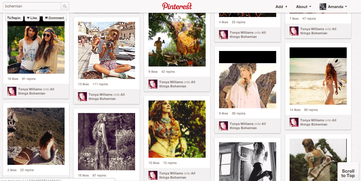 Image of a Pinterest results page