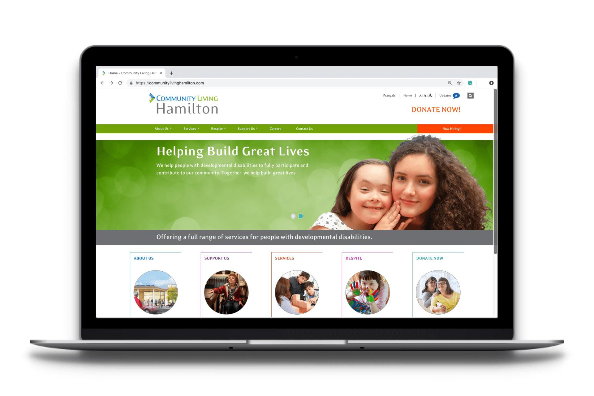 Website design for Community Living Hamilton - Home Page
