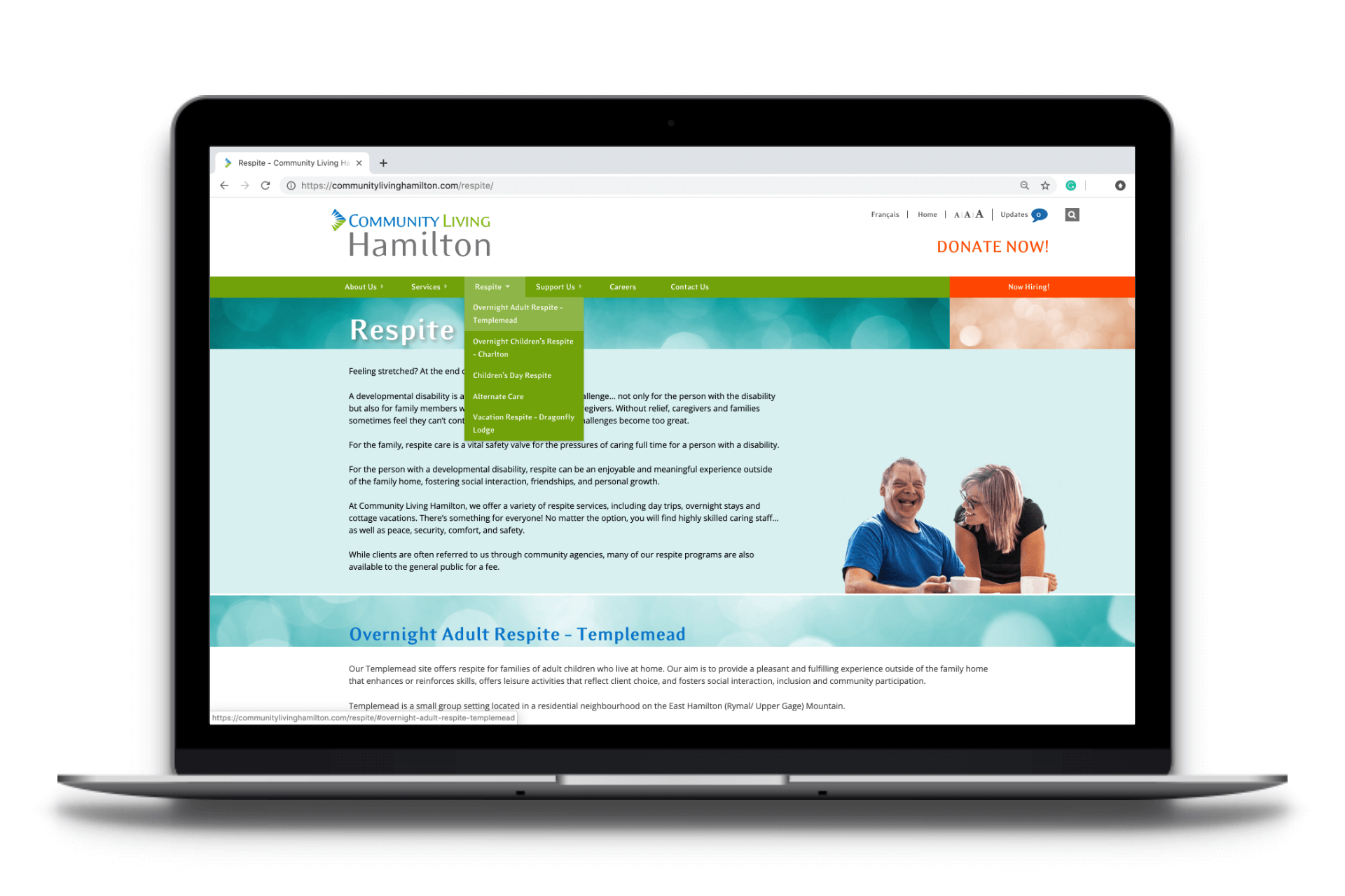 Website design for Community Living Hamilton - Respite Page