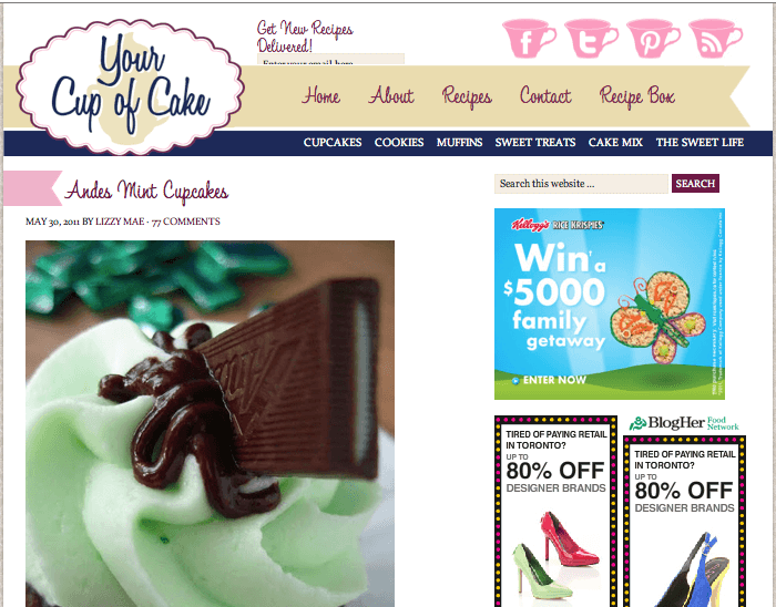 Screenshot of Your Cup of Cake homepage