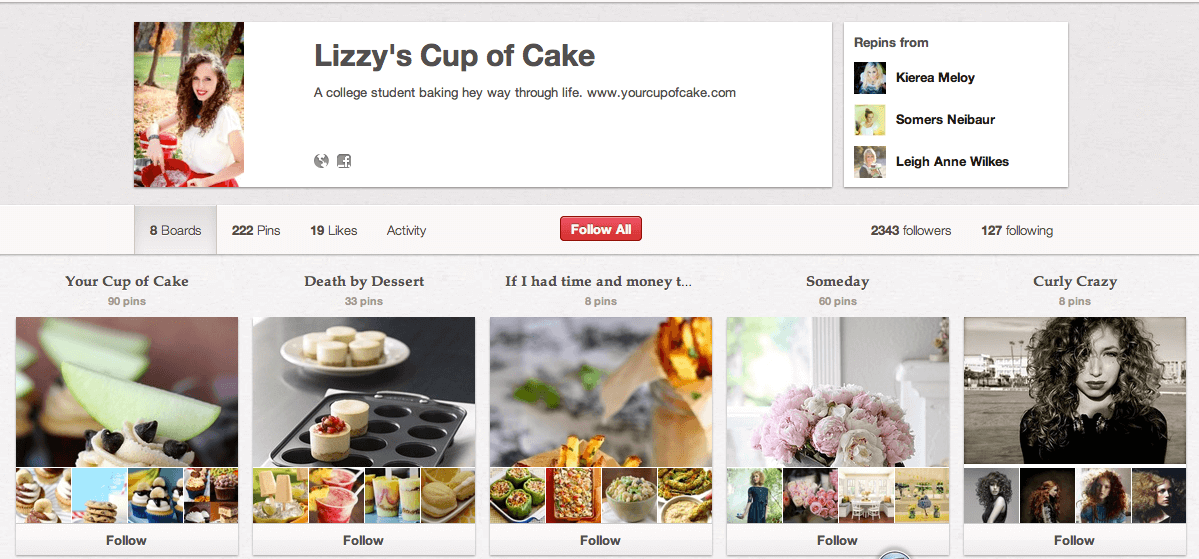 Image of Lizzy's Cup of CAke product page displaying baked goods.