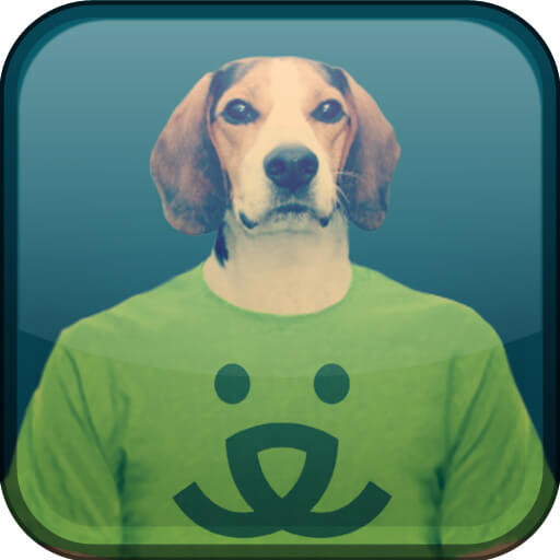 Image of a dog wearing a green shirt with a dog face design on it.