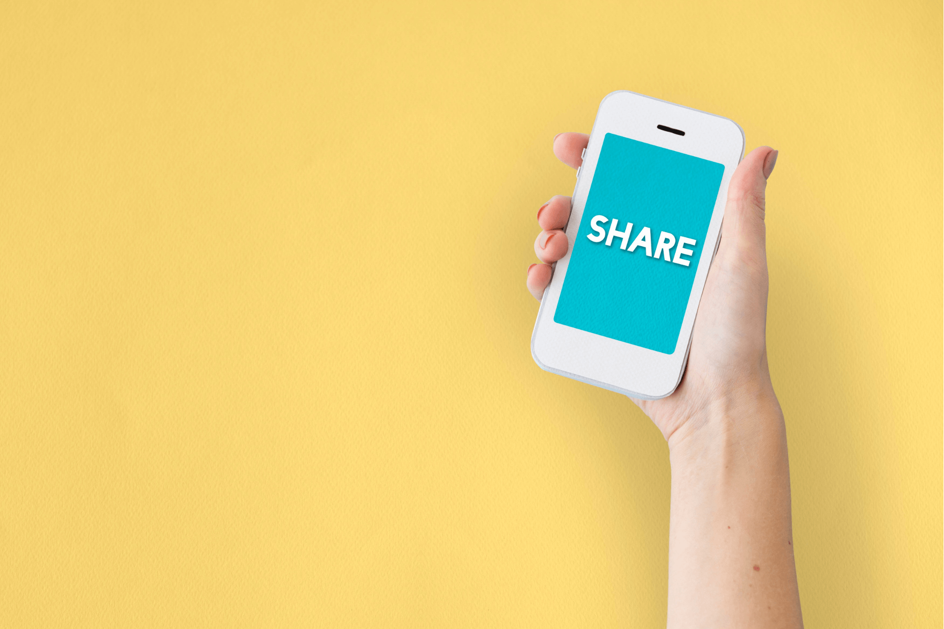 Smart phone screen says SHARE representing the importance of Facebook for nonprofits