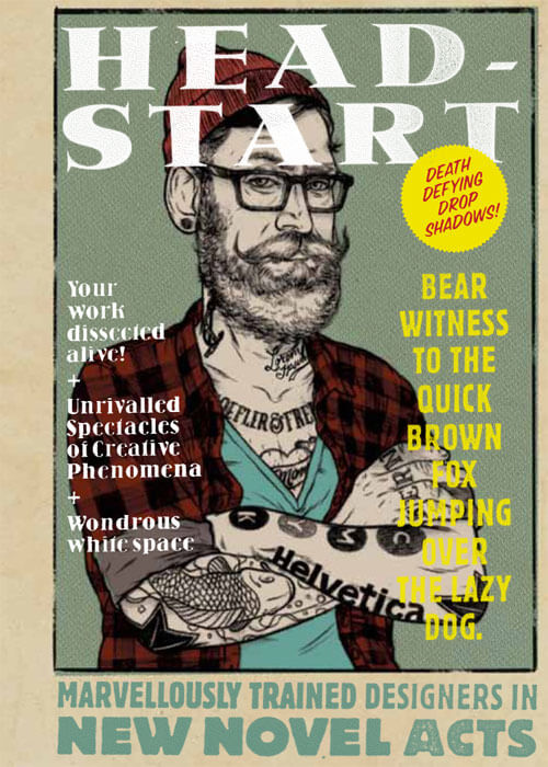Image of the cover of the RGD Head Start poster which has an illistration of a tattooed man with a beard and glasses.