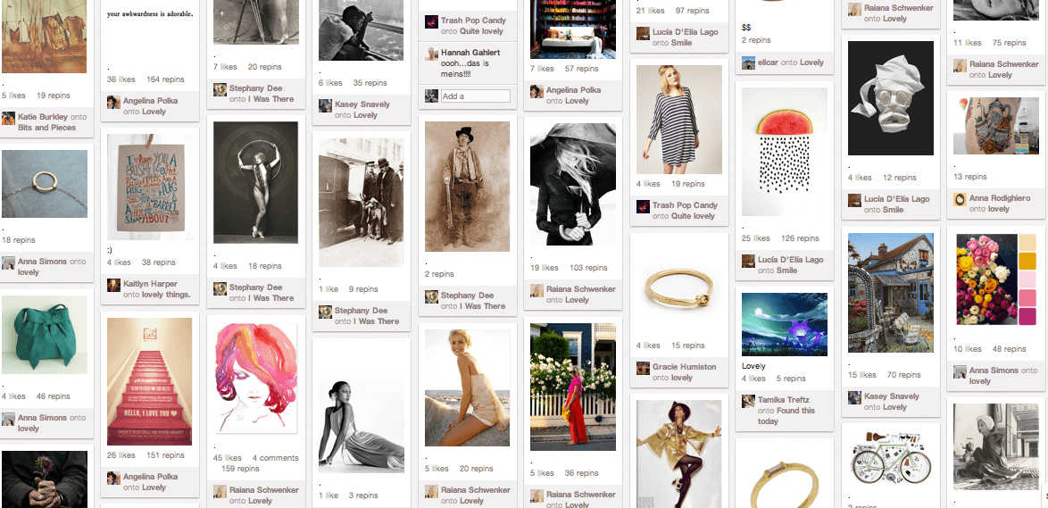 Screenshot of Pinterest results for Lovely
