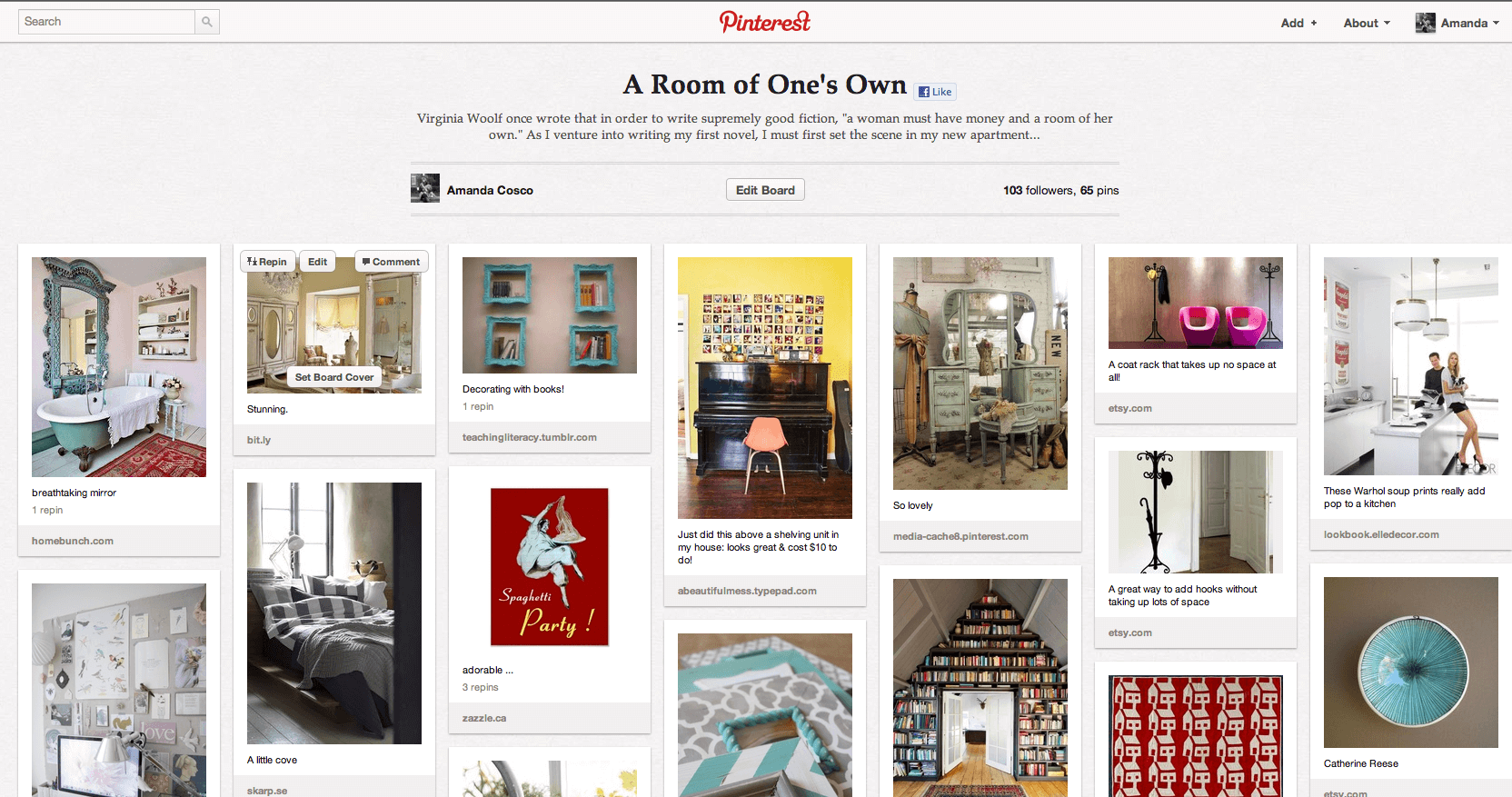 Screenshot of Pinterest homepage