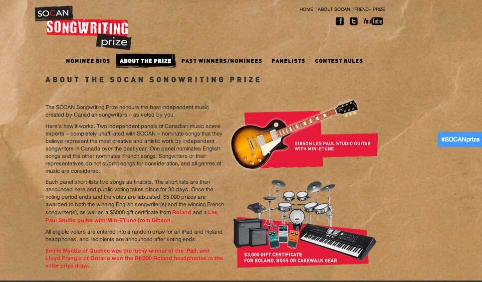 SOCAN Songwriting Prize about page screenshot