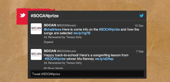 SOCAN Songwriting Prize Twitter feed screenshot