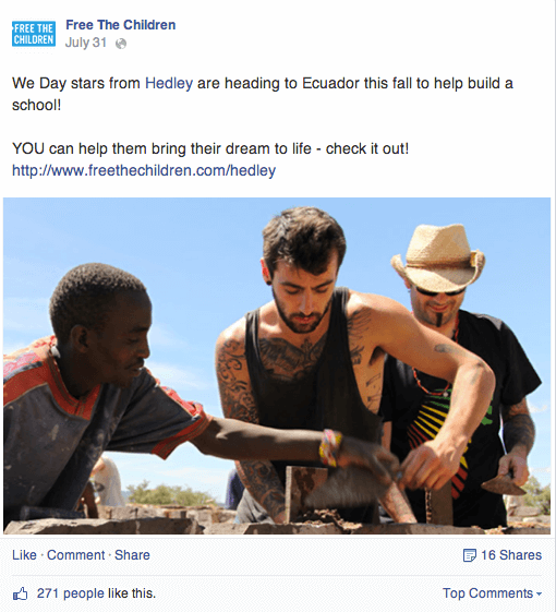 This image displays a nonprofit facebook post and portrays relevance to branding and social media for  nonprofits