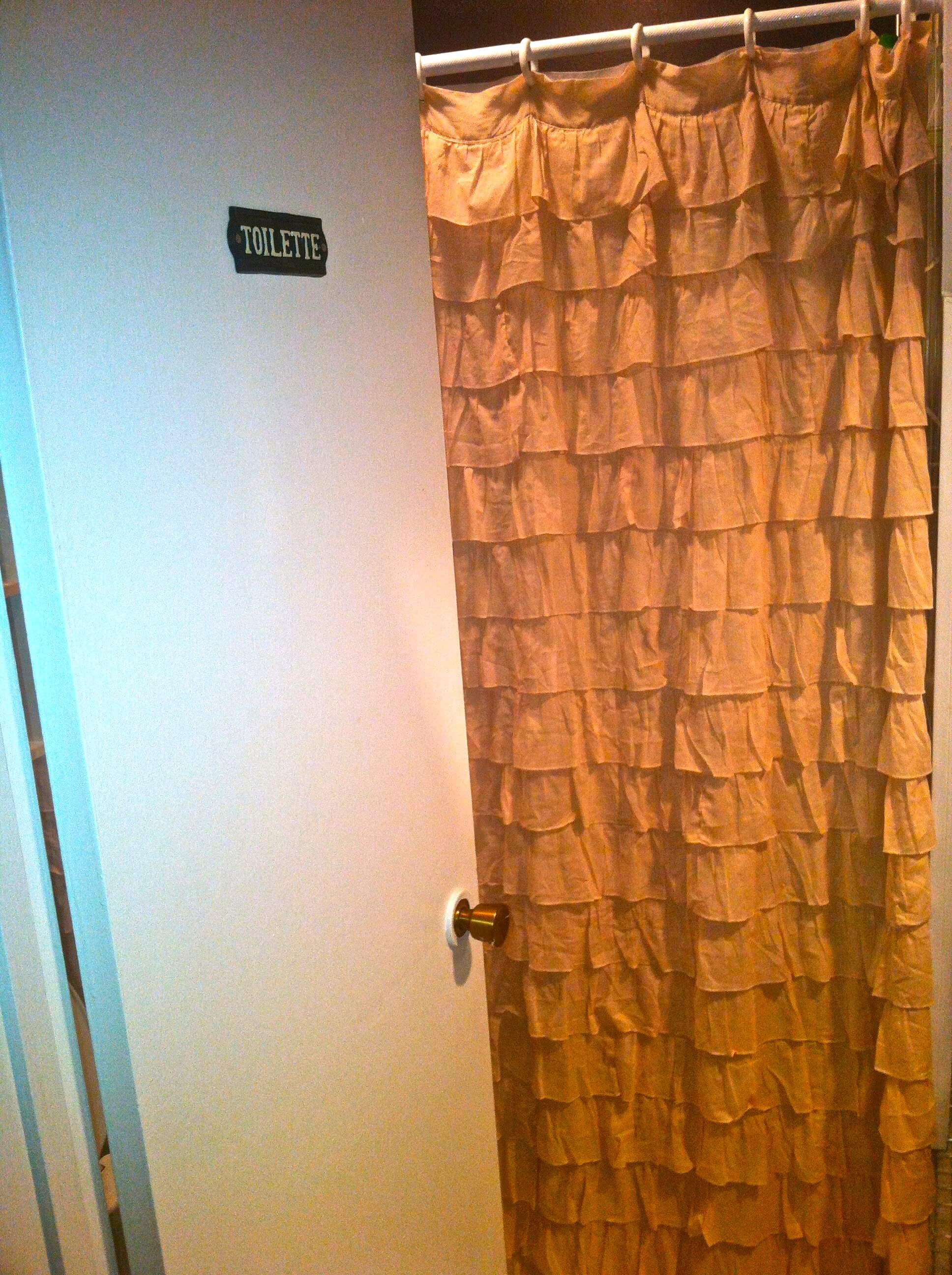 Image of a tiered shower curtain an idea from Pinterest