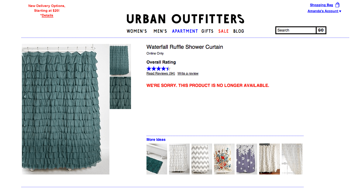 Image of tiered curtain in Urban Outfitters website