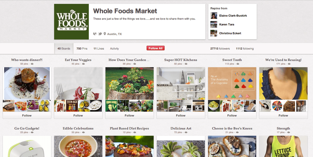 Screenshot of Whole Foods marketplace website