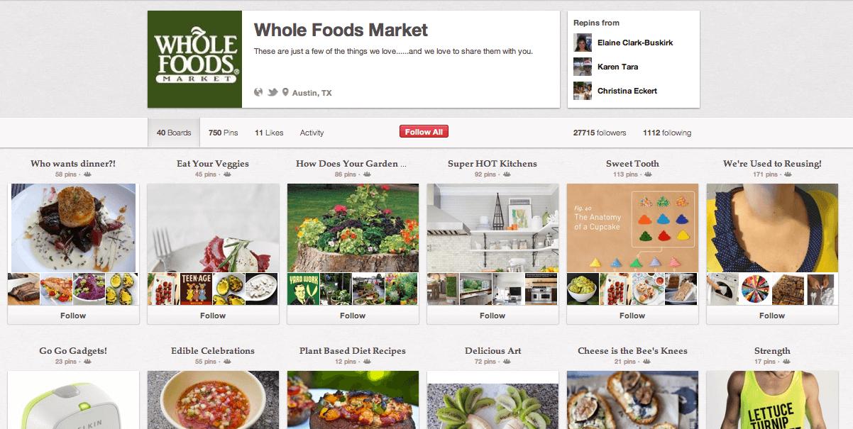 Screenshot of Whole Foods marketplace website