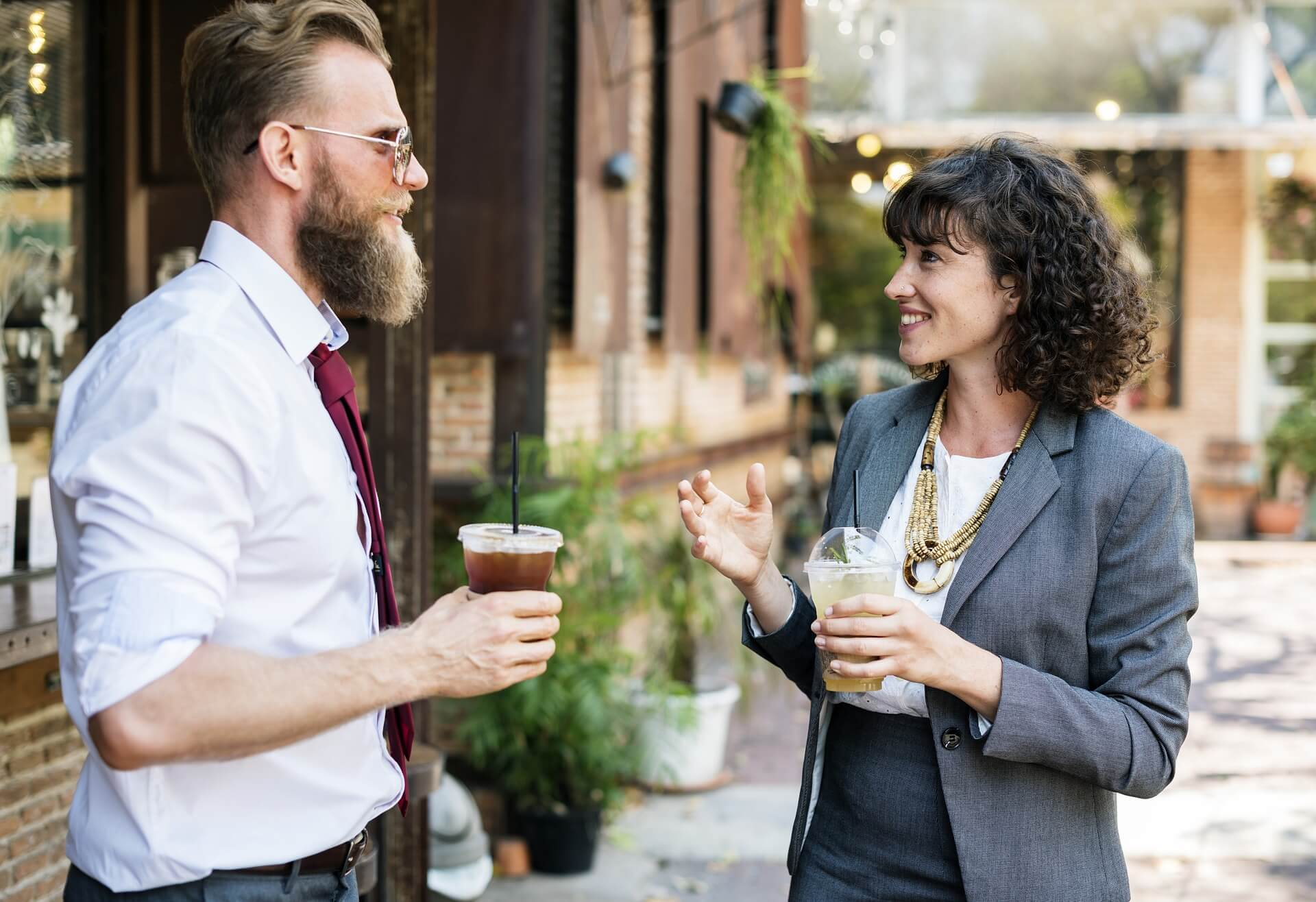 This image displays a man and a woman doing networking and portrays relevance to strategic communications for nonprofits