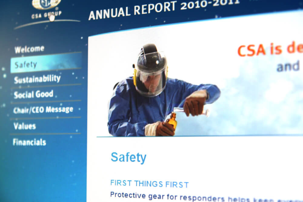 Sceenshot of the landing page for the safety section of the website and the image of someone mixing chemicals with safety equipment on.