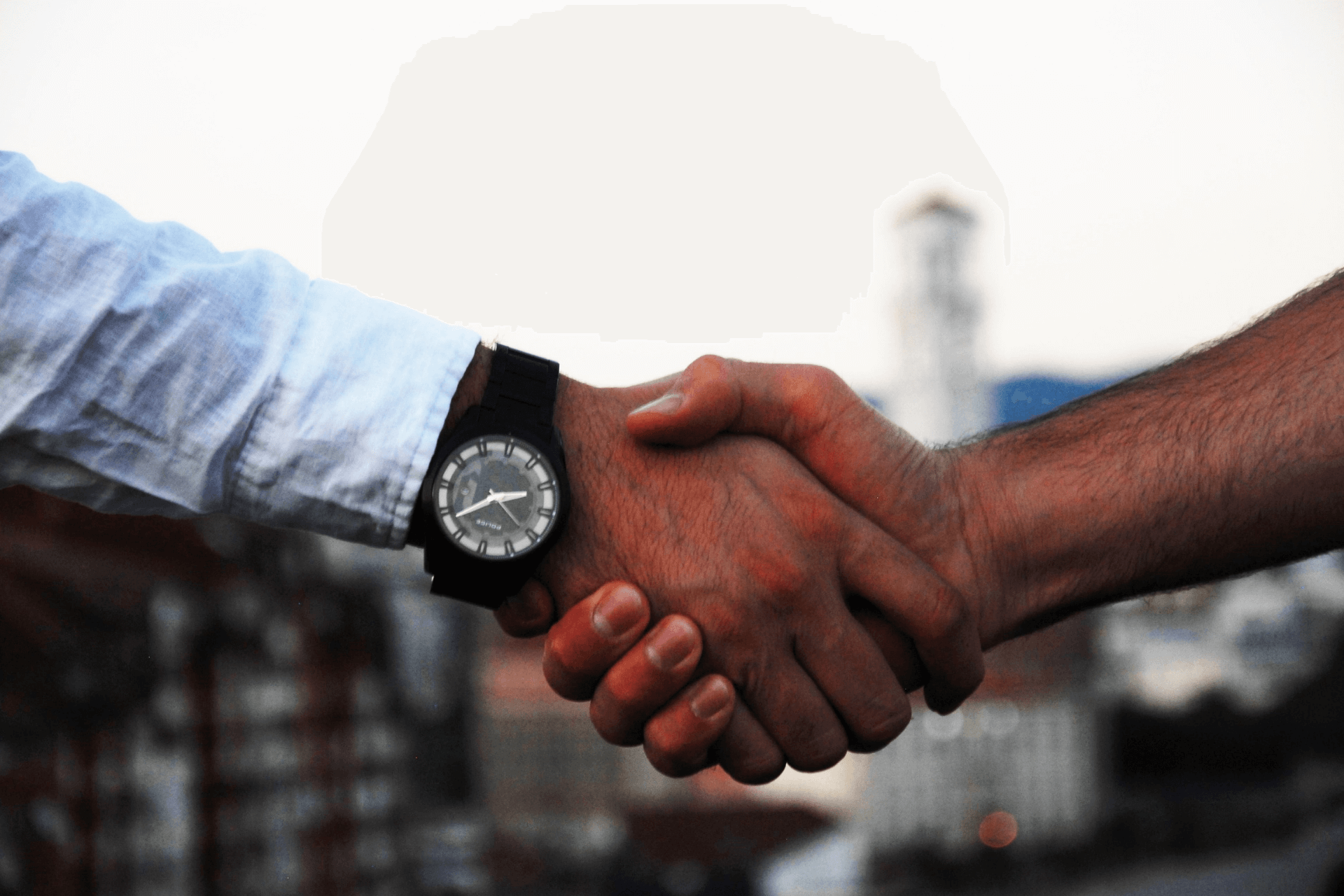 This image shows a handshake representing the beginning of a sponsorship