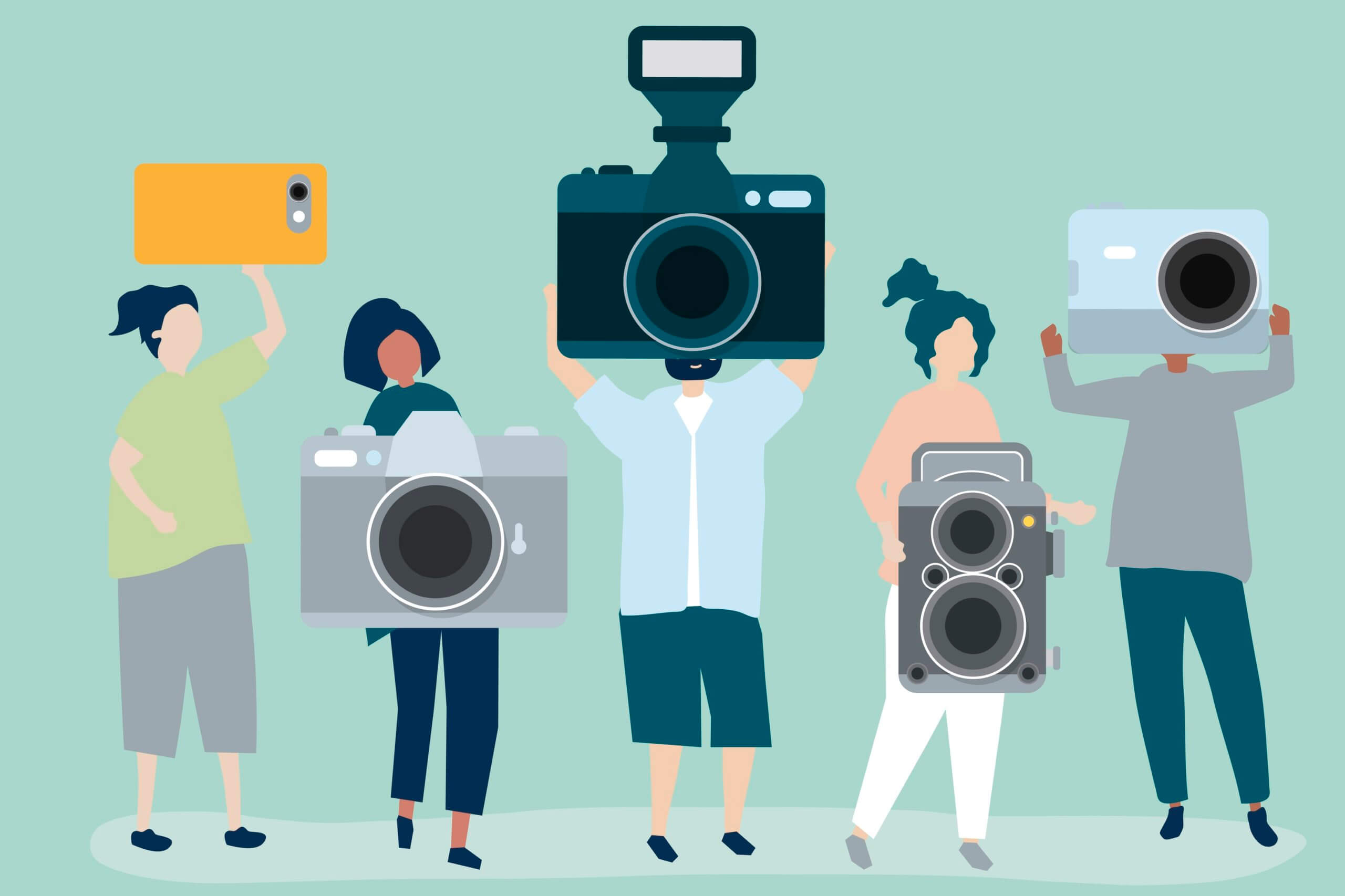 Image illustrates 5 people each of them holding a different type of camera