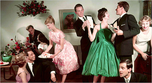 An image of a 1940s or 50s cocktail party