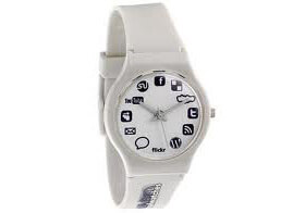 Image of a watch with social media symbols to represent social media brand strategy.