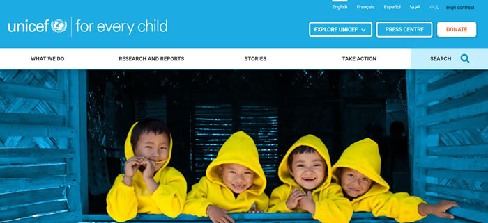 Unicef website home page