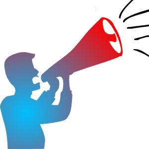 Image of an announcer talking into a megaphone