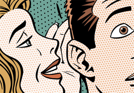 An graphic of a woman whispering to a man to symbolize social listening and engagement as well as brand strategy.